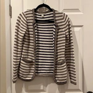 Banana Republic Sweater Striped Navy White Gold